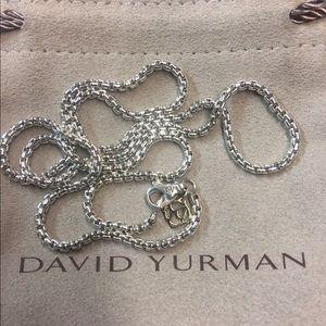 "David Yurman 2.7mm sterling &14k box chain 26"""